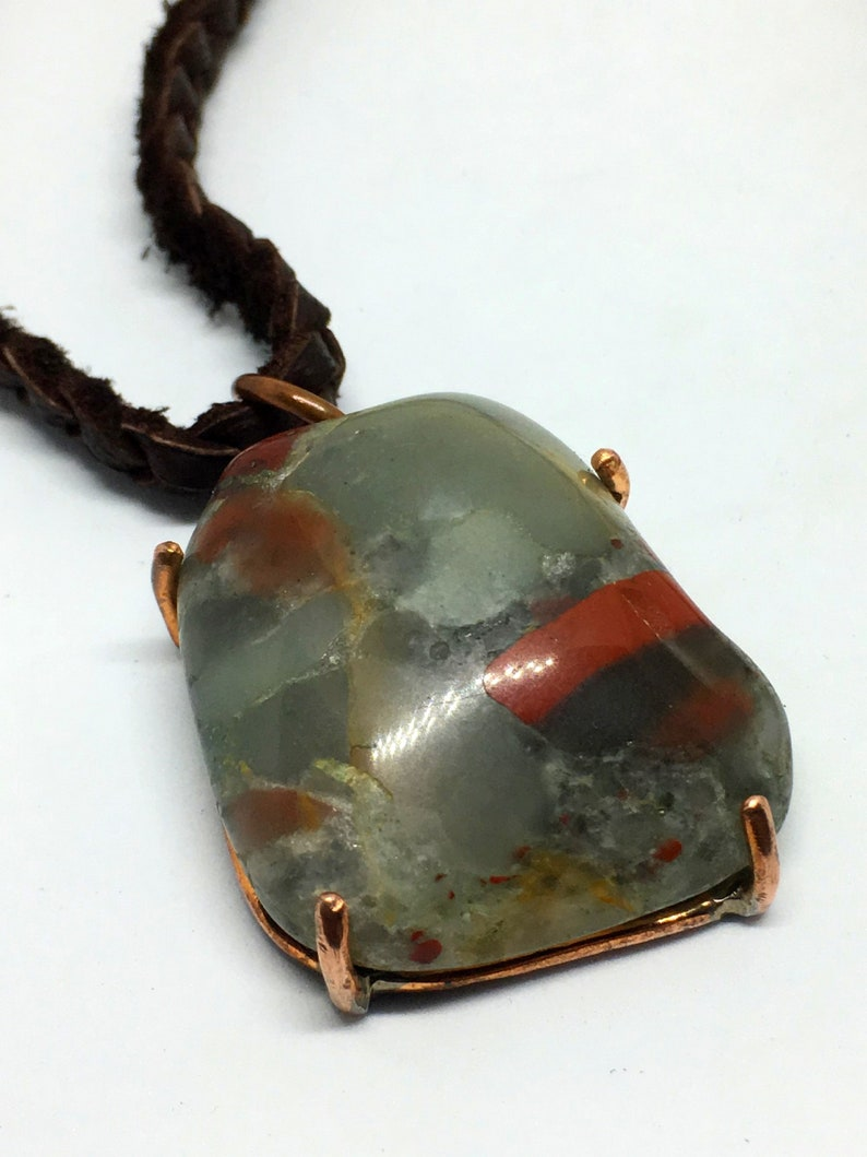 African Bloodstone & Copper Braided Leather Necklace  Natural image 0