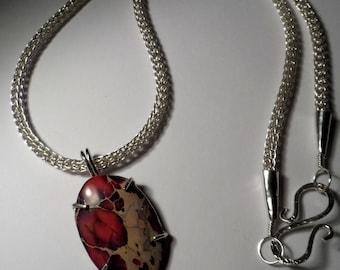 Pink / Purple Sea Sediment Jasper on .999 Fine Silver Viking Knit chain - 100% Pure Silver - Genuine Silver & Gemstone
