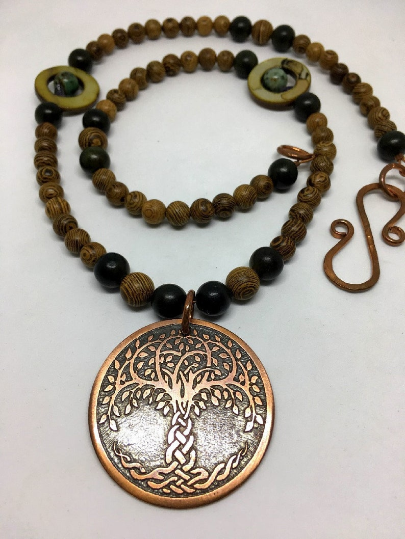 Copper Celtic Knot Tree Beaded Necklace  Natural Wenge & image 0