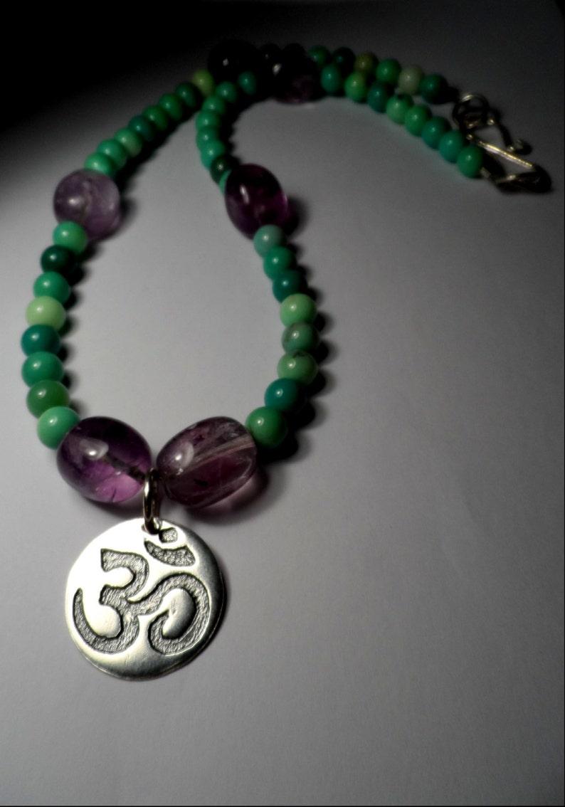 Fine Silver OM Pendant Necklace  Yoga  Genuine Chrysoprase image 0