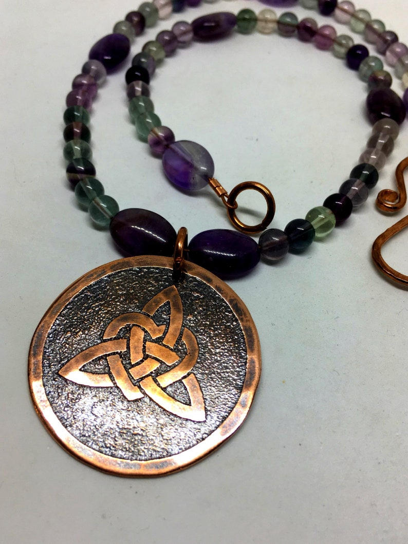 Copper Celtic Heart Knot  Genuine Fluorite and Amethyst image 0