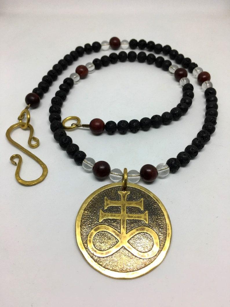 Brass Sulfur Cross / Leviathan Cross Beaded Necklace  Lava image 0