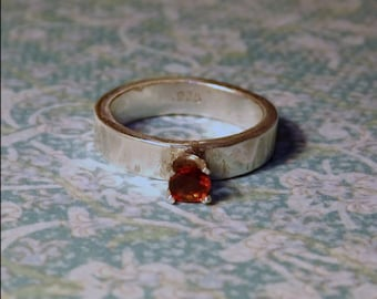 Fire Citrine & Sterling Silver Ring - 4mm Wide - Solid .925 Sterling Silver - Grade A Fire Citrine Gemstone - Engagement - Wedding Ring