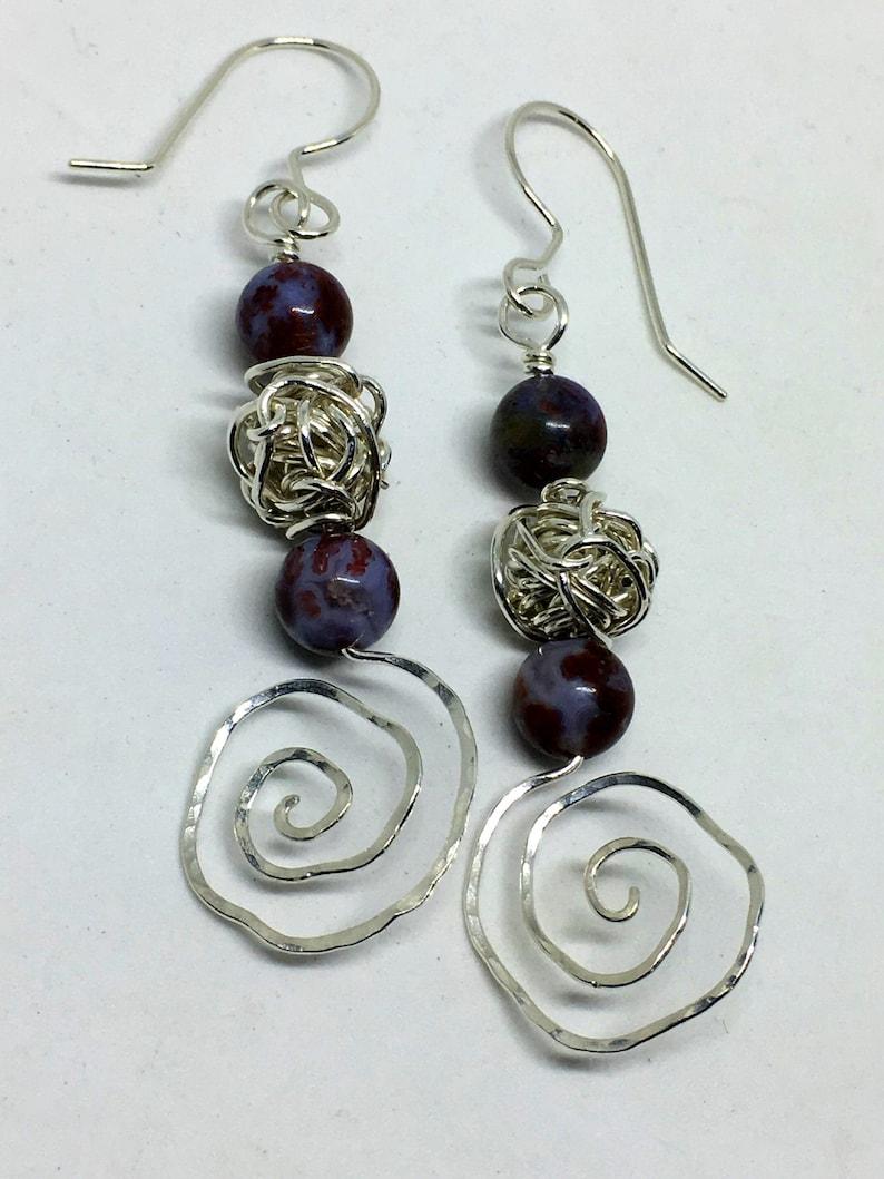 Fine Silver & Jasper Spiral Earrings  Handmade w/ Genuine image 0