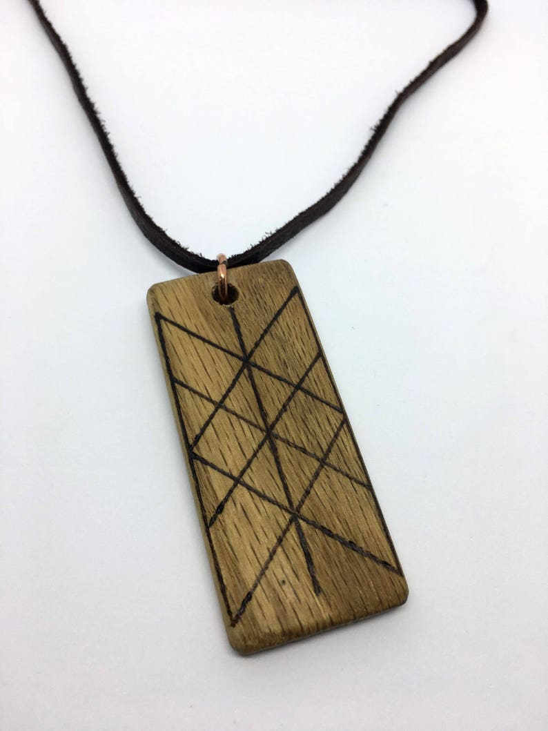 Oak & Leather Web of the Wyrd Rune Talisman  Norn  Wood image 0