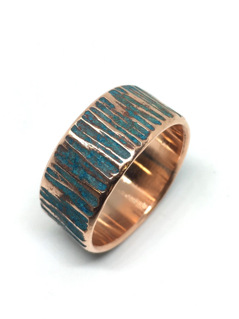 Copper Ring  Rustic Hammered w/ Blue/Green Oxide Verdigris image 0