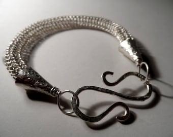 Fine Silver Viking Knit Bracelet - Polished - Traditional - Genuine .999 Fine Silver - Vikings Ragnar Odin Thor Floki