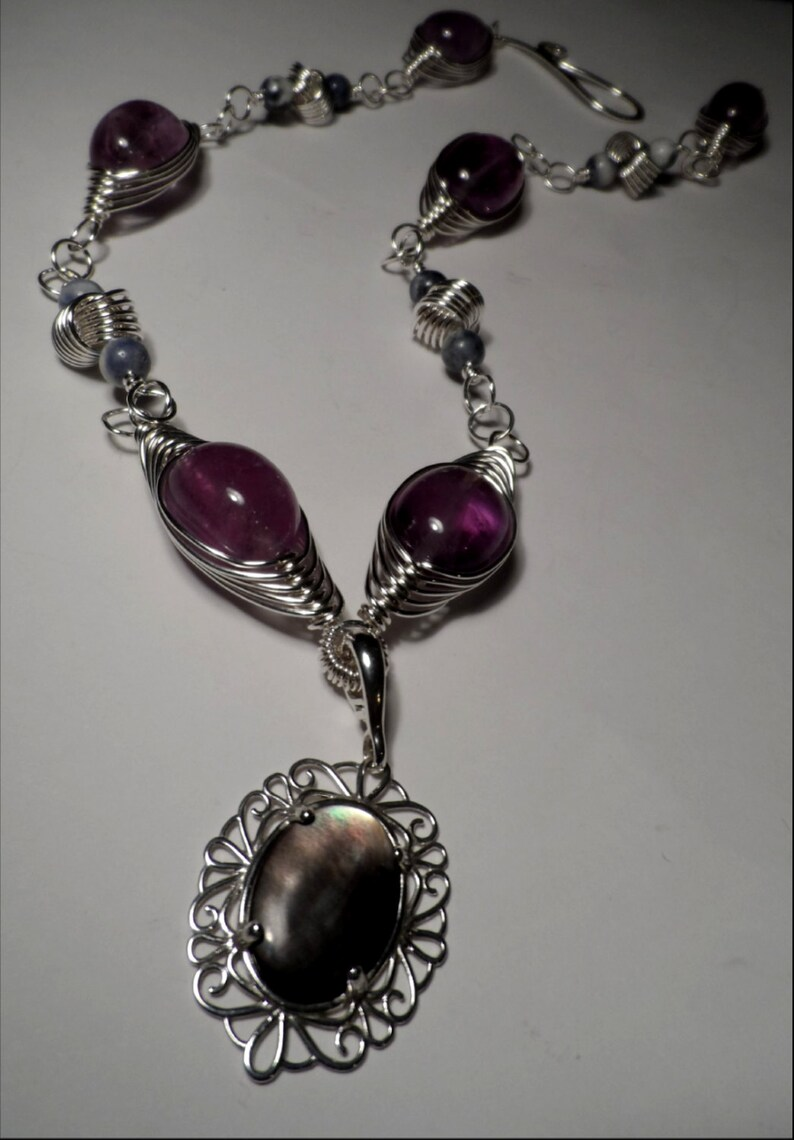 Amethyst & Black Mother of Pearl Pendant Necklace  .999 Fine image 0