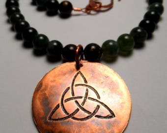 Triquetra Celtic Trinity Knot - Etched Copper - Moss Agate & Bronzite Gemstone Beaded Necklace - Norse Wiccan Druid