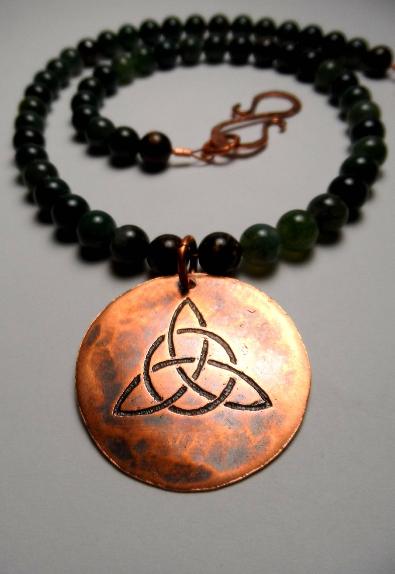 Triquetra Celtic Trinity Knot  Etched Copper  Moss Agate & image 0