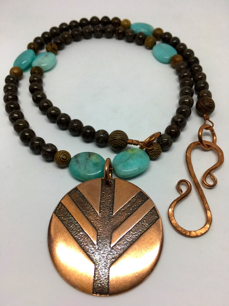 Copper Lagertha Shield Protection Amulet  Natural Amazonite & image 0