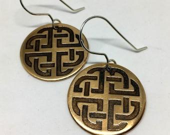 Bronze Celtic Shield Knot Earrings - Sterling Silver Hooks - Etched Irish Design