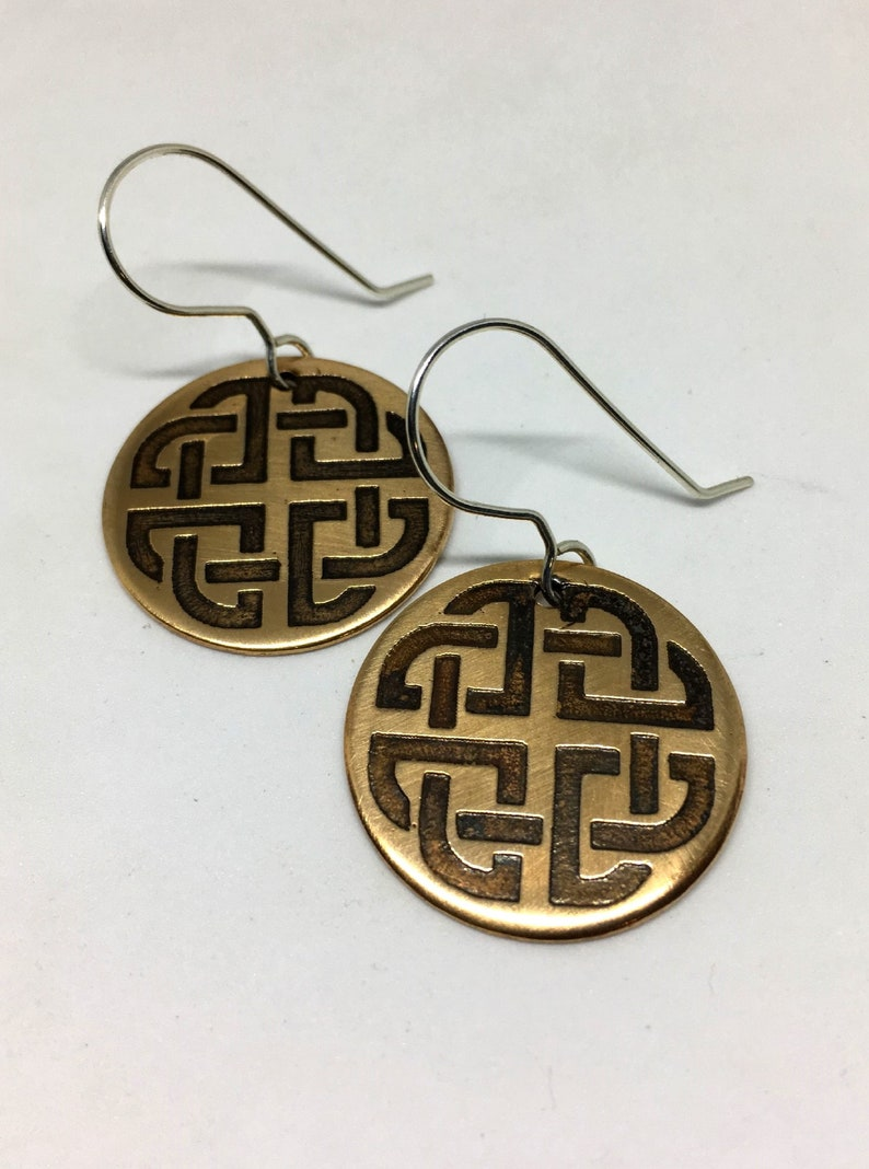 Bronze Celtic Shield Knot Earrings  Sterling Silver Hooks  image 0