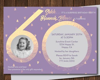 60th Birthday Invitation Surprise Optional Customizable Personalized DIY Printout W Photo