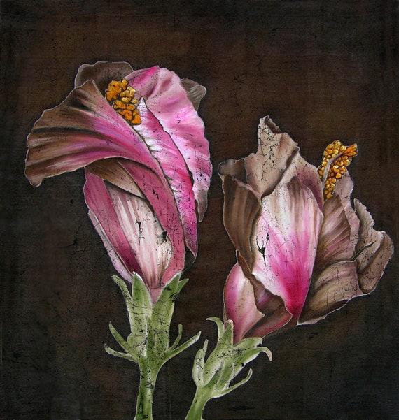 Flowers on brown original silk painting batik art flowers etsy image 0 mightylinksfo