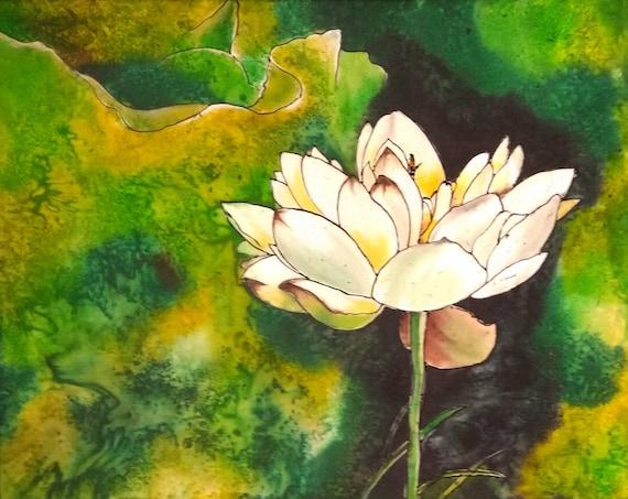 White lotus batik art silk painting flowers painting batik etsy image 0 mightylinksfo