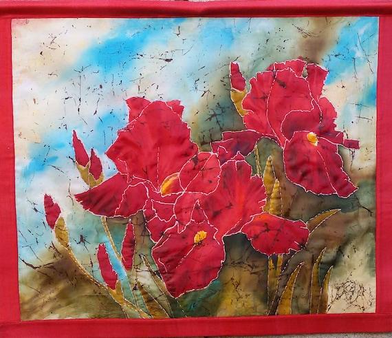 Red irises quilted wall hanging batik art batik tapestry etsy image 0 mightylinksfo
