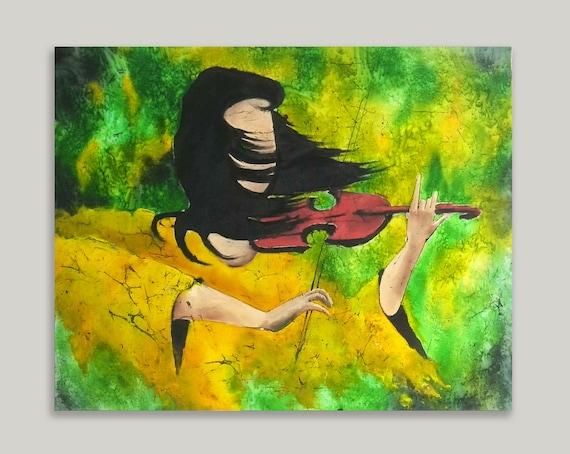 musician original silk painting batik art batik wall
