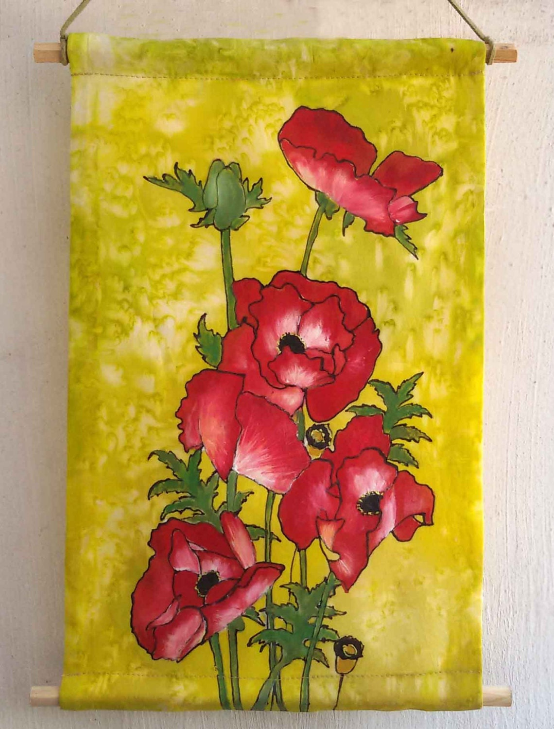 Red poppies wall art wall decor home decor silk painting | Etsy