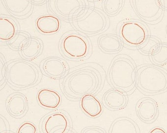ORGANIC - Cloud 9, quilters cotton, Rain Walk, Sprinkle Gray, circles