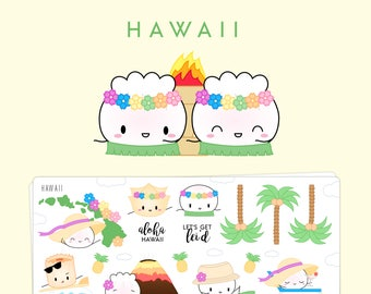 """Hawaii Stickers - """"The Steam Team Travels To Hawaii"""" [Travel Stickers, Deco Stickers] // """"Dimsum Around The World 1.0"""" Collection - S130"""
