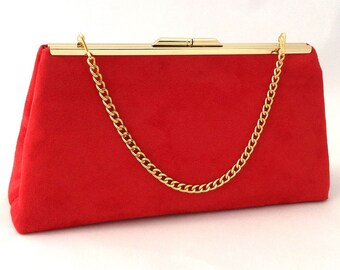 Handmade in UK BRIGHT RED /& BLACK asymmetrical faux suede clutch bag