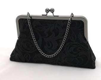 Black Lace Clutch ~ Black Evening Purse ~ Ready to Ship fcd2da1e992b4
