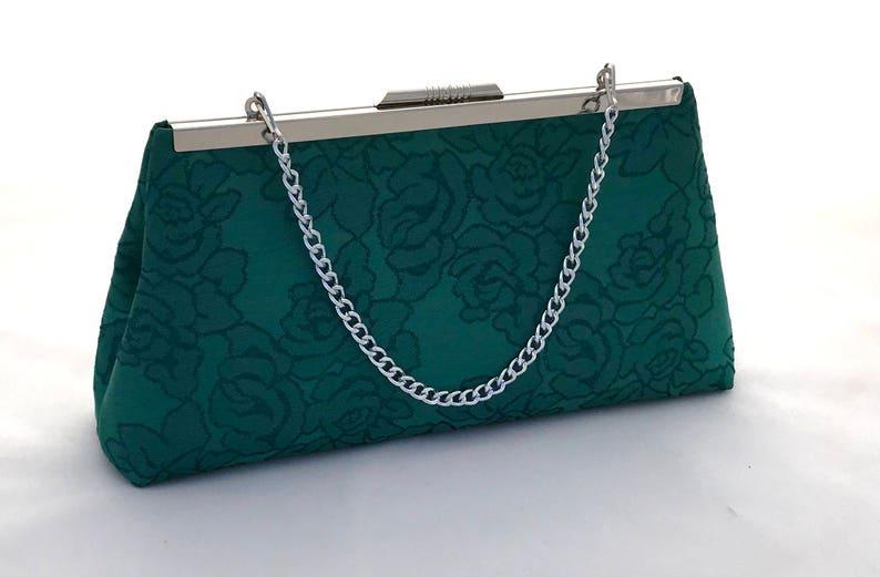 Emerald Green Brocade Purse Handbag ~ Green