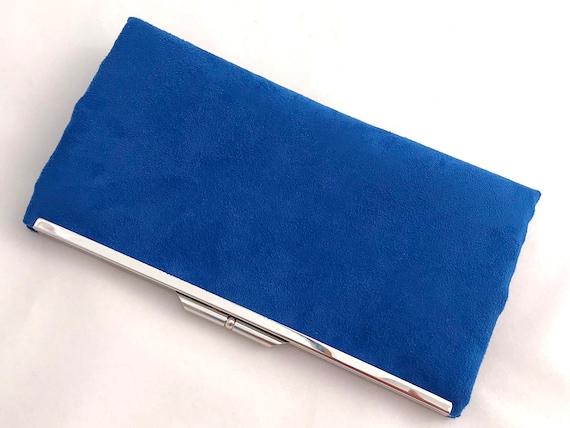 8c7072897ccd Royal Blue Suede Evening Clutch Purse Blue Suede Handbag