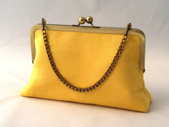 56b7478e1202 Yellow Suede Handbag Clutch Purse Yellow Summer Suede Purse