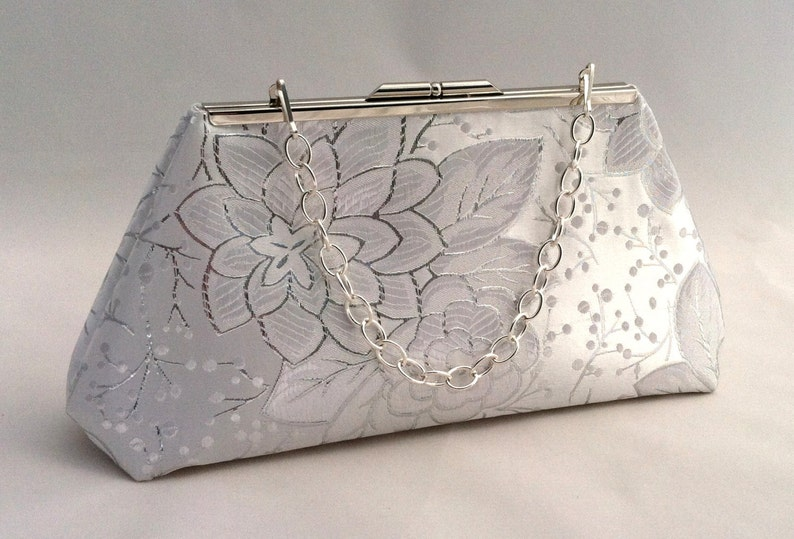 b4804312708 Silver Metallic and White Purse Clutch Silver and White | Etsy