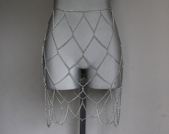 Silver Chain Skirt | Handmade Chain Link Skirt | Chain Overlay Skirt | Silver Body Chain | Chain Belt | Chain Body Cage | Chain Body Harness