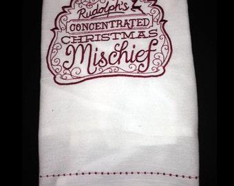 Embroidered Tea Towel - Rudolfs Christmas Mischief