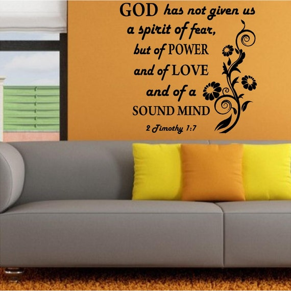 wall decal bible scripture 2 timothy 1 7 spirit of love etsy