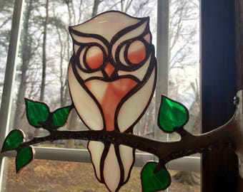 Stained glass owl, pink owl, whimsical owl, owl art, sun catcher