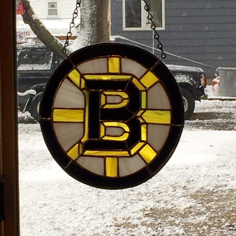 sun catcher Boston Bruins stained glass black yellow hockey fans and white glass SOLD