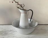 Vintage French Enamelware Jug and Bowl,Enamel Pitcher, Enamelware Basin Jug Ewer. Kitchen Decor. Garden Decor