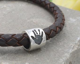 301065739 Personalised Leather Bracelet, Mens Handprint Bead Bracelet, Handprint  Bead, Leather Handprint Bracelet, Bracelet for Men, Gift for Him