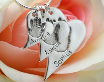 Handprint Necklace Silver