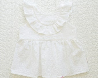 JASMINE TOP - Handmade Girls Frill Top, Baby Frill Top, Embroidered Top