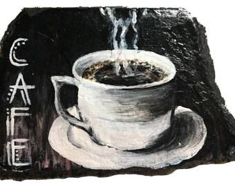 Coffee Painting on Slate
