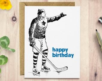Hockey Birthday card, vintage illustration, card for her, card for him, birthday card for boyfriend, handmade greeting card, hockey card