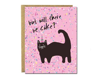 Cat Birthday card, cat card, card for her, card for him, birthday card for boyfriend, handmade greeting card