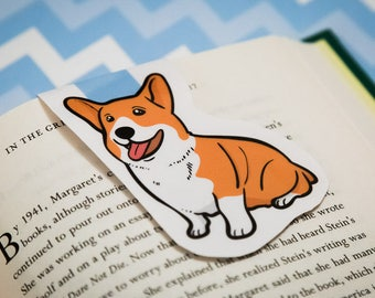 Bookmark - JUMBO bookmark - Magnetic Bookmark - Planner Accessories - Page Marker - Corgi Bookmark - dog bookmark - gift for her