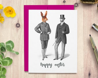 Easter card, easter rabbit card, easter bunny card, card for her, card for him, card for boyfriend, card for girlfriend, handmade card