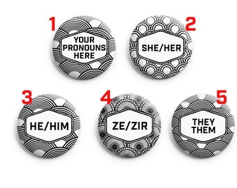Custom pronoun pin | Etsy
