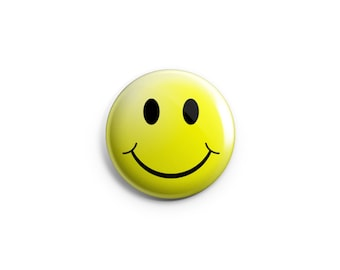Smiley Face - Emoticon - Pinback Button, Magnet, or Flair, happy face, smiling face