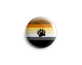 "Bear Pride button, magnet, 1.25"" pinback button, pin, badge, LGBT pride, pride flag"