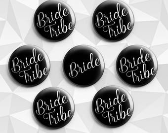 Hen Party, bachelorette party favors, pinback buttons, wedding shower favors, wedding gifts, pins, bride badge, bride pin, Bride Tribe