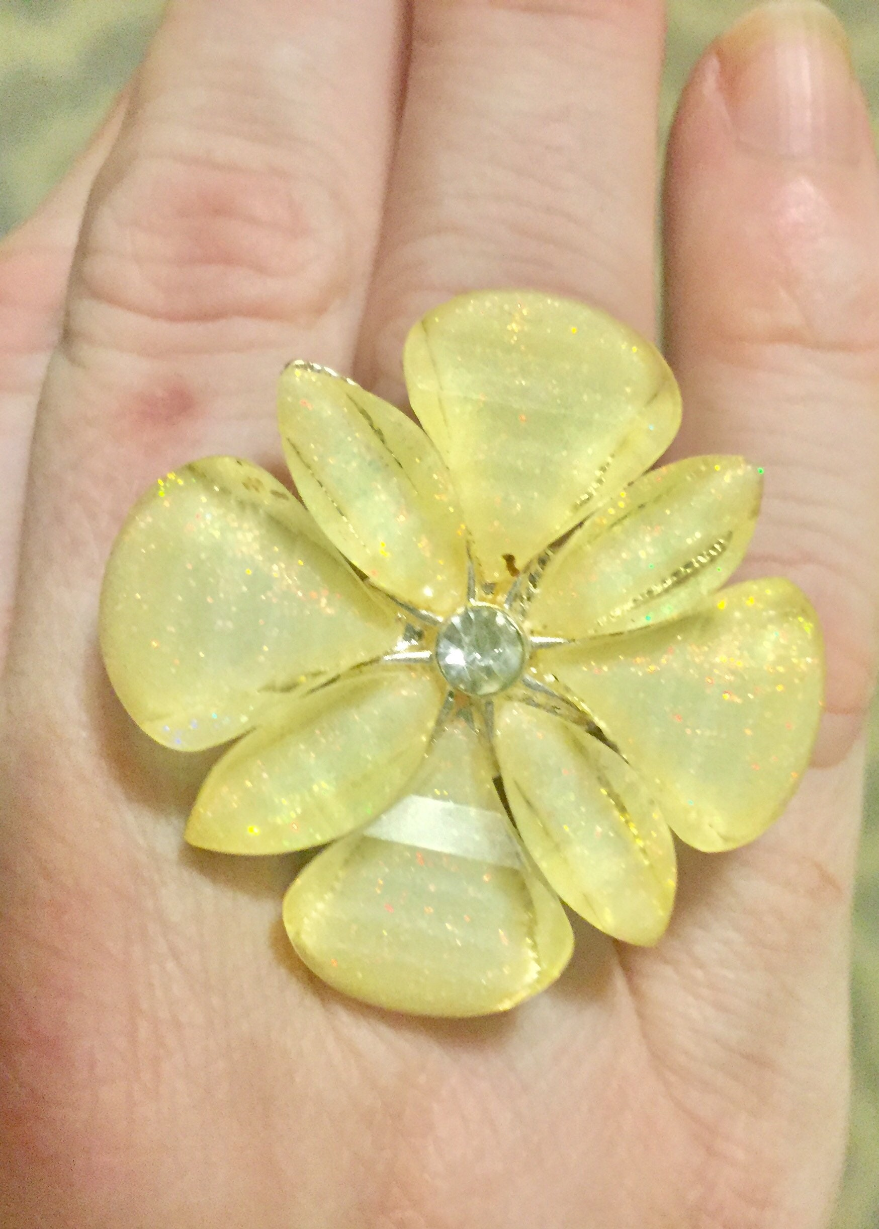 Yellow Flower Statement Ring With Swarovski Rhinestone Embellishment